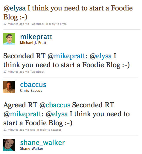 the twitters harassing elysa on starting a foodie blog