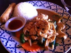 Chicken Rama at Thai Orchid Restaurant in Addison