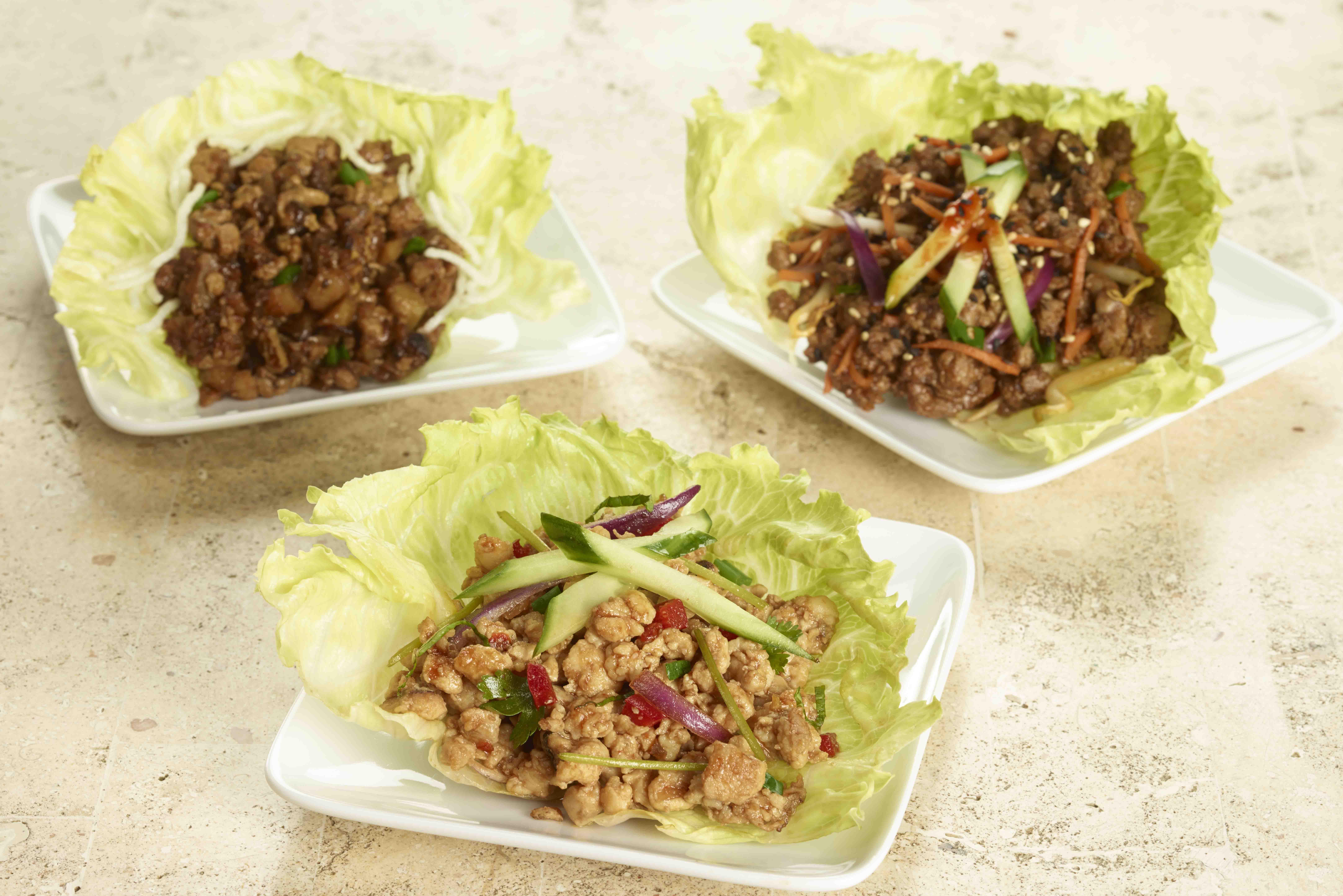 Thai Chicken, Korean Steak and Traditional Chicken Lettuce Wraps