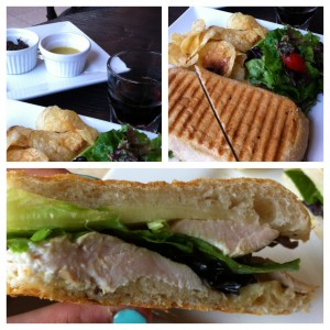 Chicken Manchego Panini served with house salad & homemade chips.