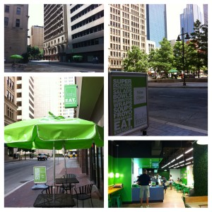 Not hard to find when downtown! Sit at the tables in Pegasus Plaza when the weather is nice.