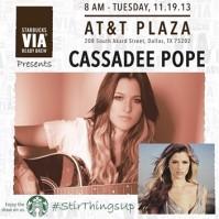 "Starbucks VIA® Ready Brew Presents ""The Voice"" Winner Cassadee Pope at Free Morning Concert"