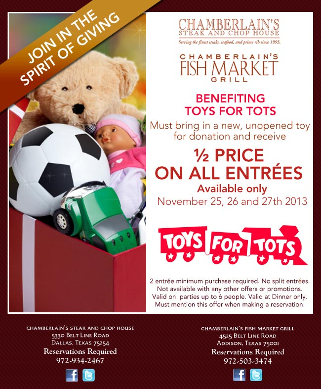 Chamberlains Dallas Toys for Tots half price entree