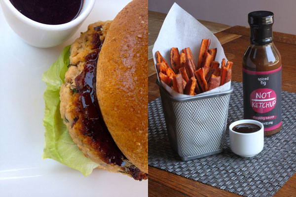 Turkey Burger with Not Ketchup dipping sauce with Sweet Potato Fries & Spiced Fig :: DallasFoodNerd