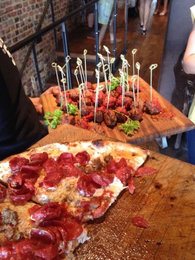 Pepperoni and sausage pizza and mini meatballs via dallasfoodnerd.com