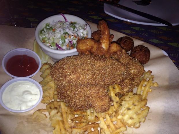 Catfish and shrimp platter with waffle fries, cole slaw and hush puppies