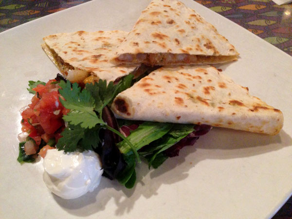 Shrimp Quesadilla with Cilantro Pesto - Fish City Grill