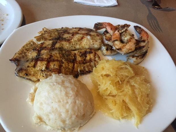 talapia and grilled shrimp at bonefish grill via dallasfoodnerd.com