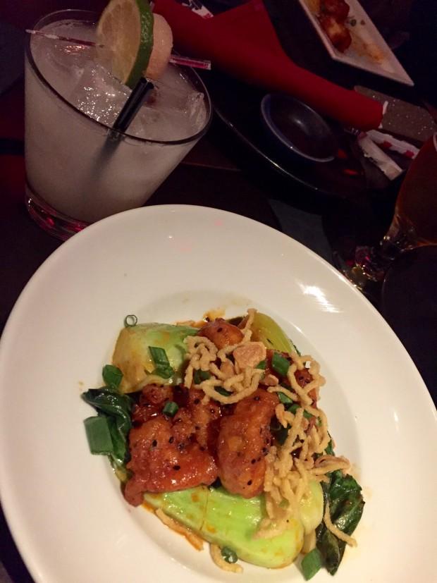 chili garlic shrimp paired with Lychee Margarita at RA Sushi via dallasfoodnerd.com