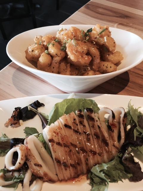 Grilled Calamari (front); shrimp (back)