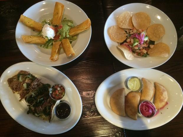 Appetizers (clockwise from left): Chicken Flautas, Shrimp Ceviche, Empanadas, Mini Brisket Tacos