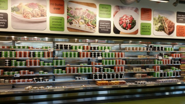 Selection of fresh daily juices and soups, along with various entree sizes.