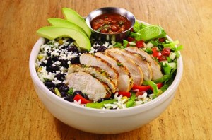Fajita chicken Border Bowl via dallasfoodnerd.com