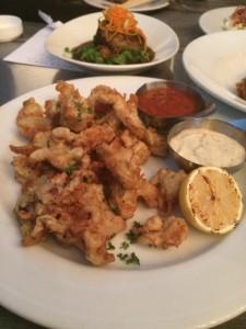 Crispy Calamari with a Crushed Tomato Sauce & Roasted Garlic Aioli