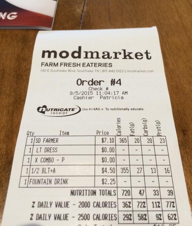 The receipts and Modmarket show you calories per item.