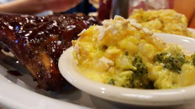 My favorite. Fall off the bone ribs paired with broccoli cheese casserole.