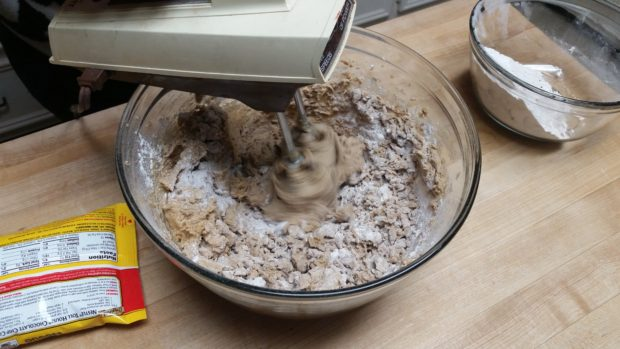 Chocolate Chocolate Chip Cookie Mixing Dough