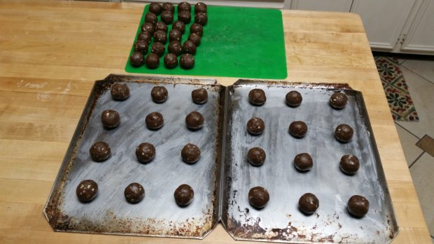 Chocolate Mint Chip Dough Balls on Baking Sheets